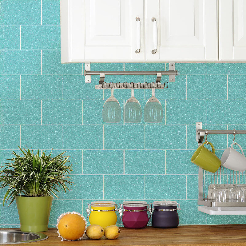 Crown London Tile Aqua Glitter Wallpaper - M1122