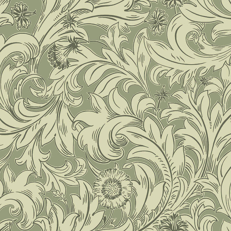 Crown Meadow Scroll Olive Wallpaper - M1175