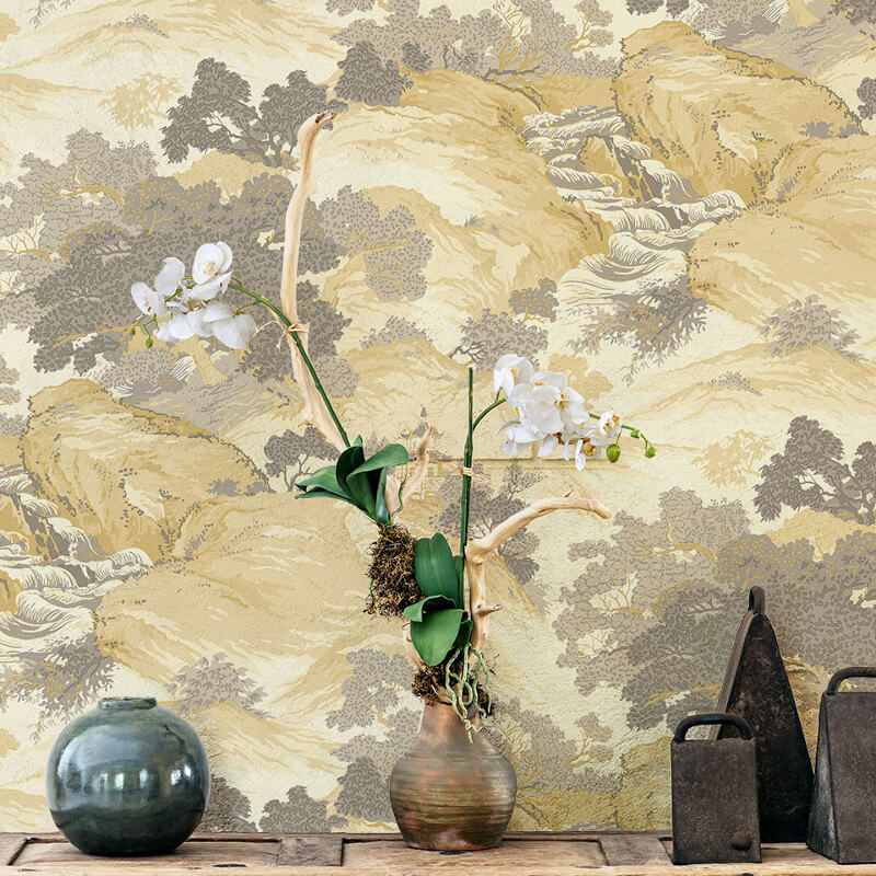 Crown Oriental Landscape Yellow Wallpaper - M1192