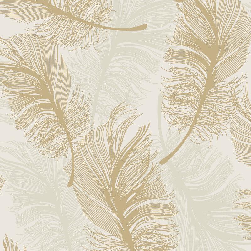 Crown plume feather gold foil metallic wallpaper m1392 for Foil wallpaper uk