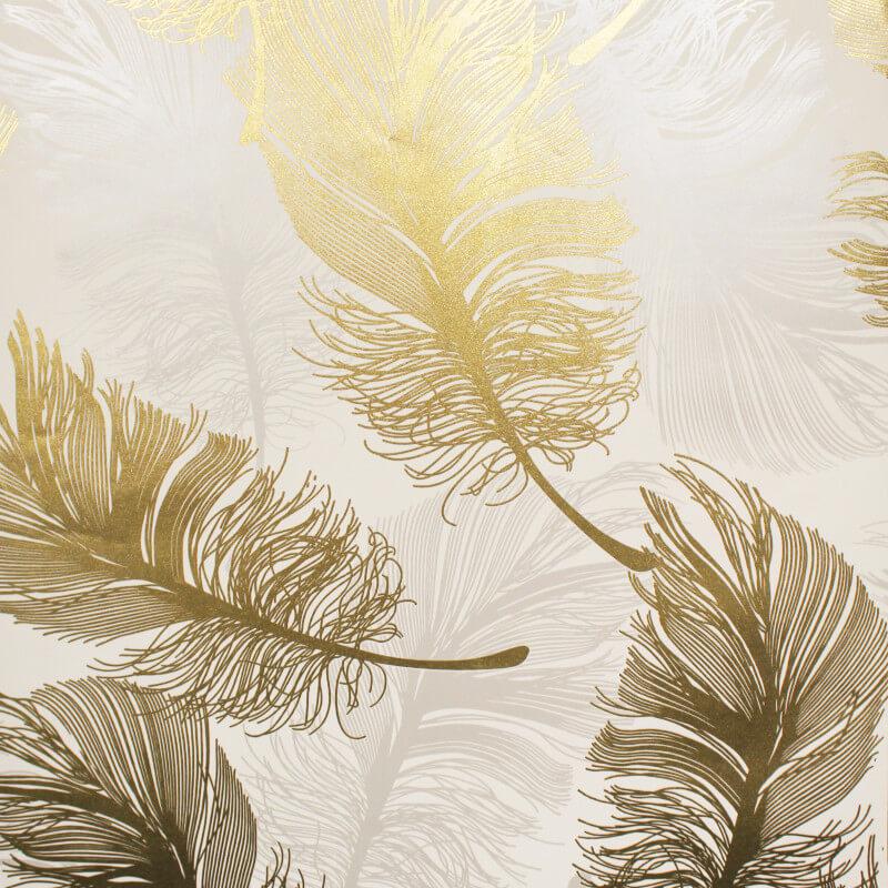 Crown Plume Feather Gold Foil Metallic Wallpaper - M1392