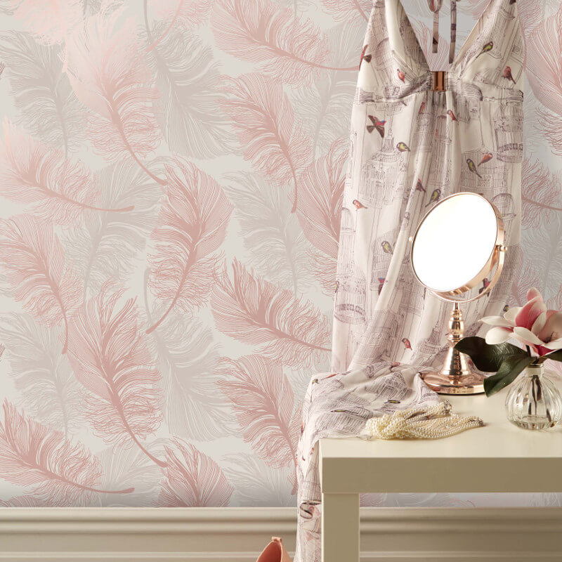 Crown Plume Feather Rose Gold Foil Metallic Wallpaper - M1391