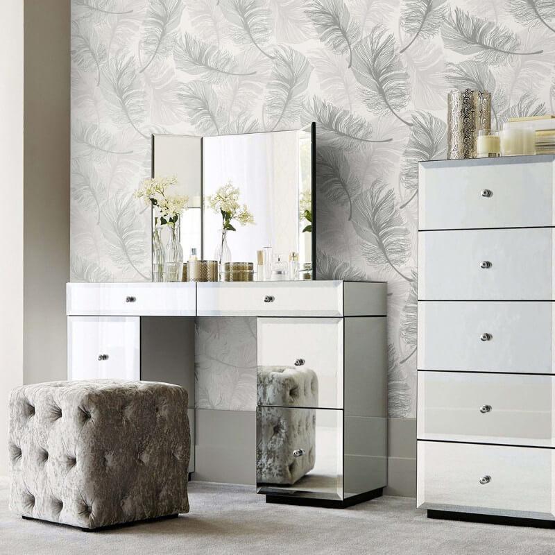 Crown Plume Feather Silver Foil Metallic Wallpaper - M1390