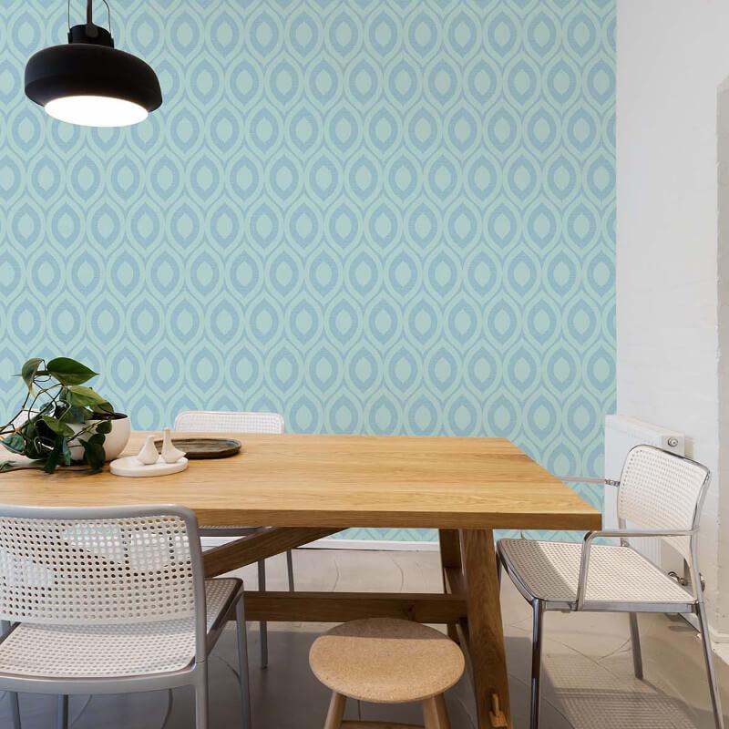Crown Rimini Geometric Duck Egg Wallpaper - M1162