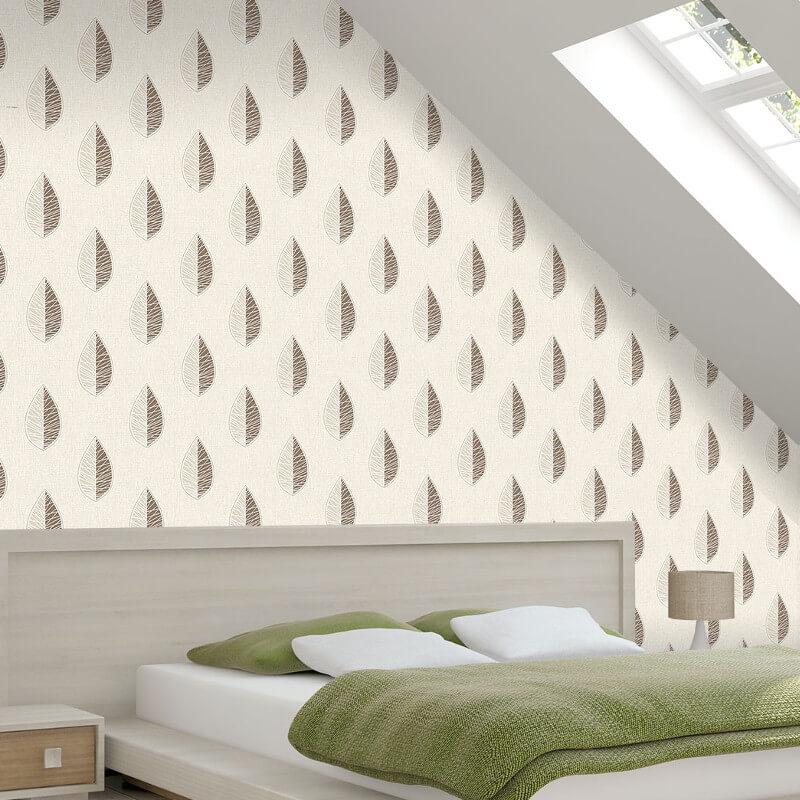 Crown Scandi Leaf Choc/Natural Glitter Wallpaper - M1254