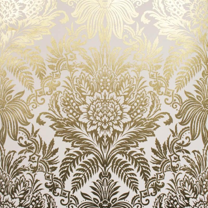 Crown Signature Damask Gold Foil Metallic Wallpaper - M1395