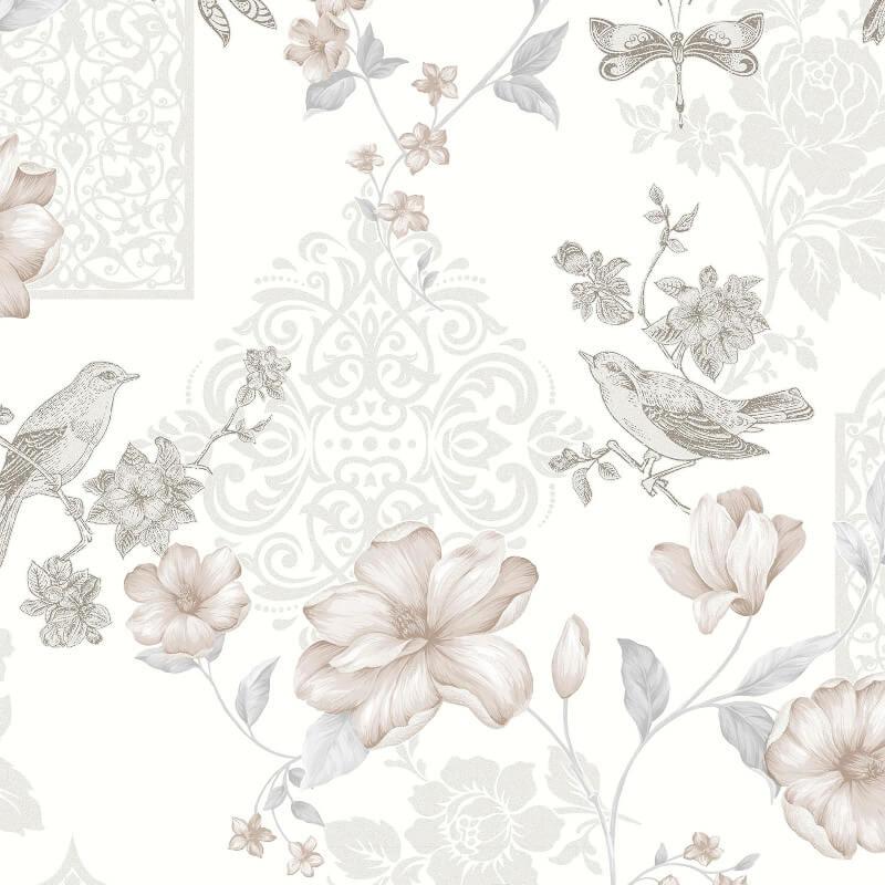Crown Sweet Cherry Glitter Wallpaper in White - M1085