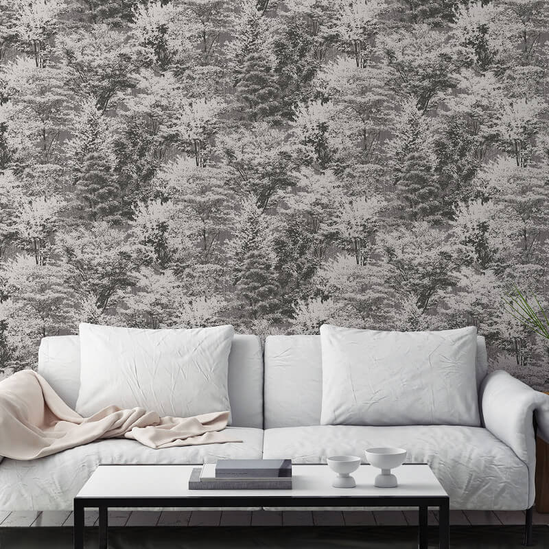 Crown Sycamore Forest Charcoal Wallpaper - M1334