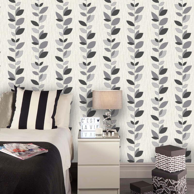 Vymura Synergy Leaf Black/Silver Glitter Wallpaper - M1373