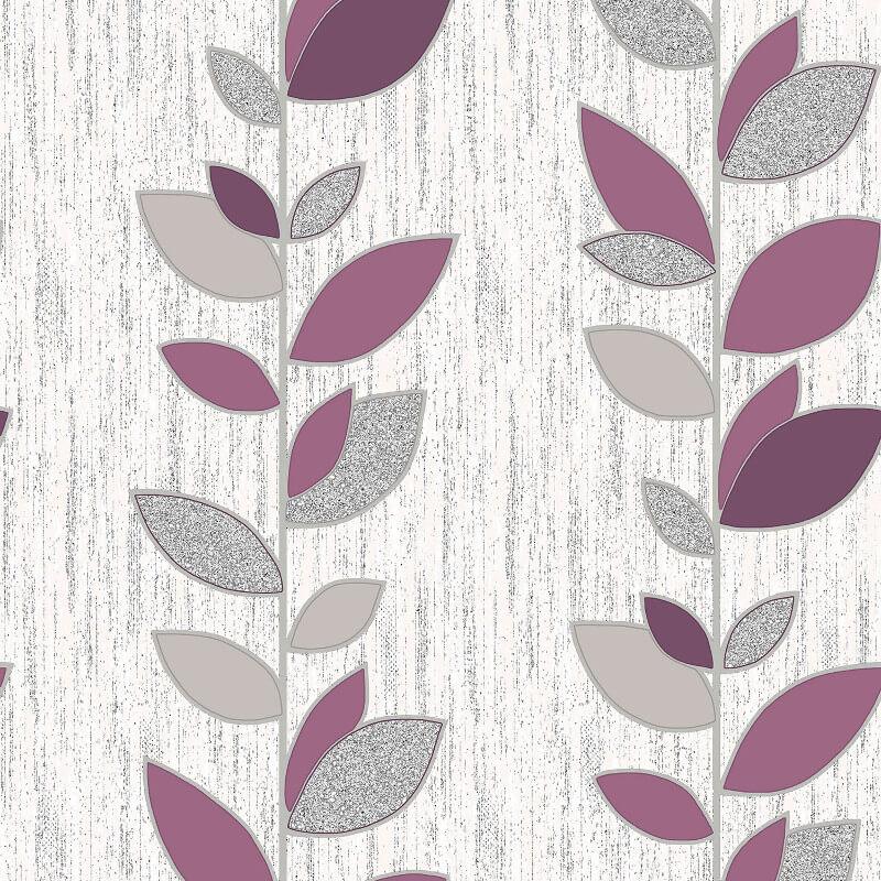Vymura Synergy Leaf Purple/Silver Glitter Wallpaper - M1374