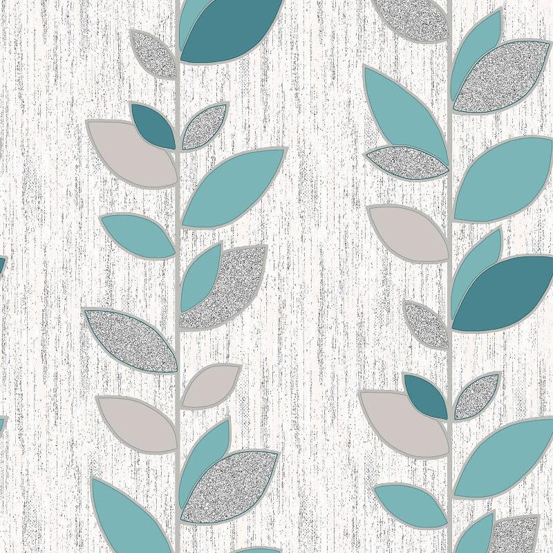 Vymura Synergy Leaf Teal/Silver Glitter Wallpaper - M1376