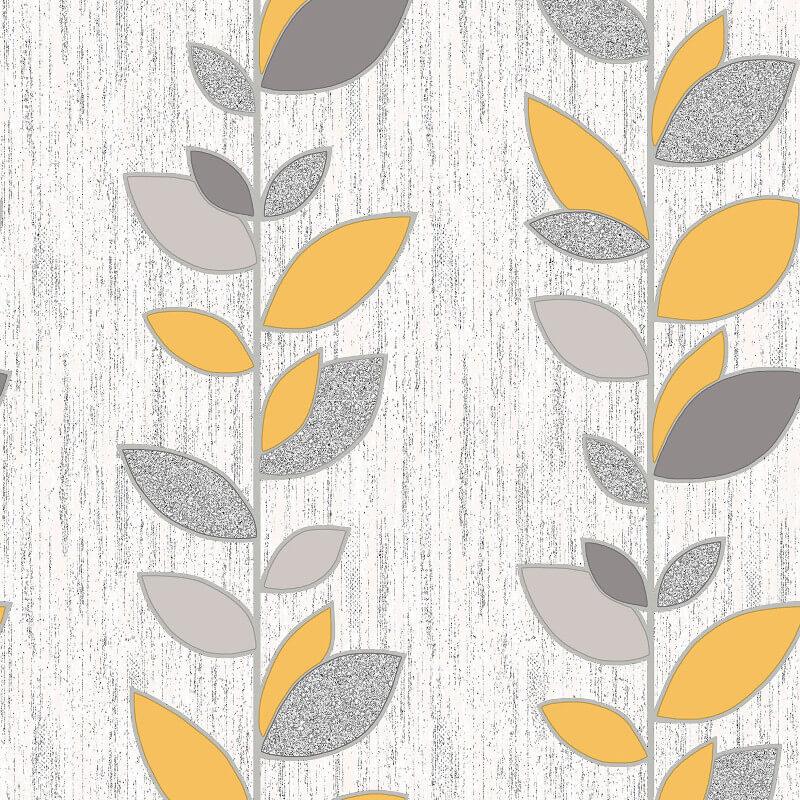 Vymura Synergy Leaf Yellow/Silver Glitter Wallpaper - M1375
