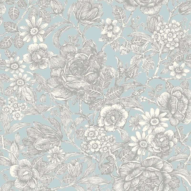 Crown Wild Hedgerow Floral Light Blue Wallpaper - M1186
