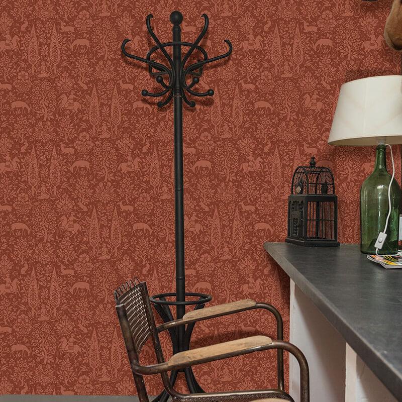 Crown Woodland Floral Brick Red Wallpaper - M1170
