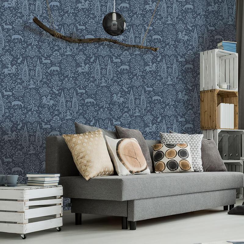 Crown Woodland Floral Dark Blue Wallpaper - M1169