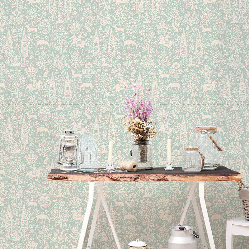 Crown Woodland Floral Duck Egg Wallpaper - M1166