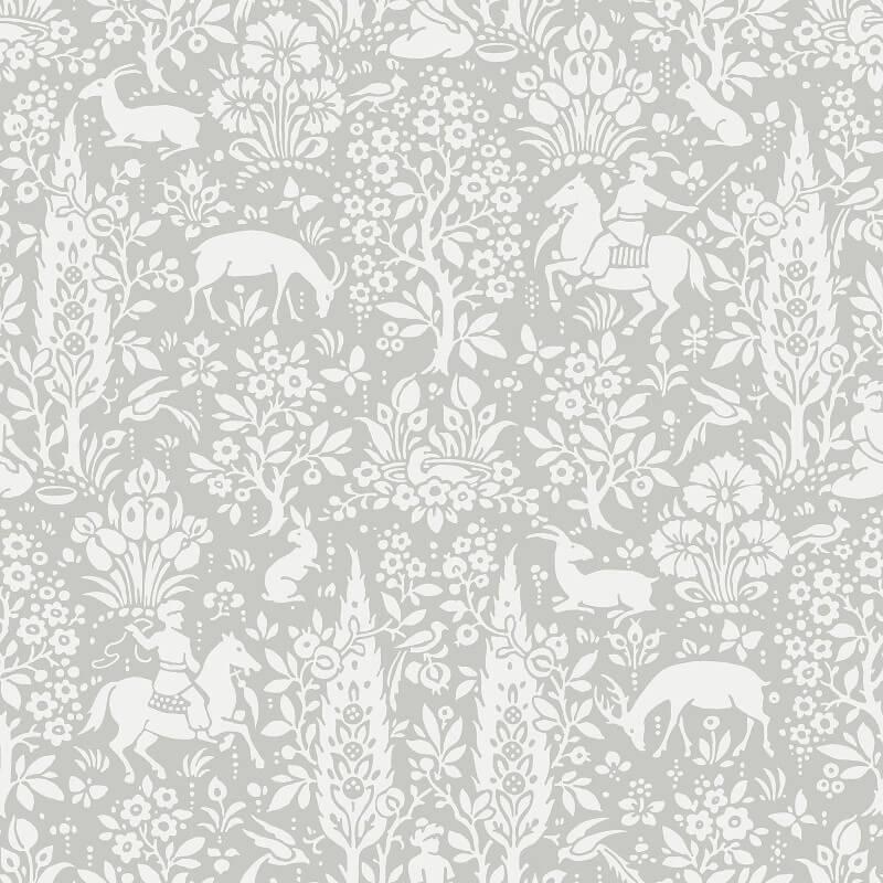 Crown Woodland Floral Grey Wallpaper - M1168