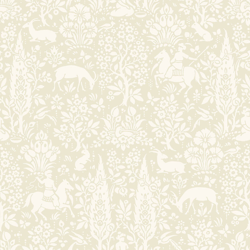 Crown Woodland Floral Natural Wallpaper - M1165