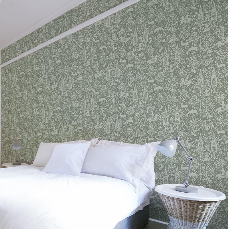 Crown Woodland Floral Sage Green Wallpaper - M1167