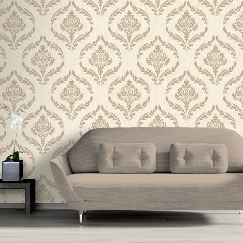 Debona Crystal Damask Ivory/Gold Glitter Wallpaper - 9030