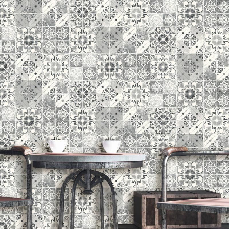 Debona Geometric Tile Black Wallpaper - 5010