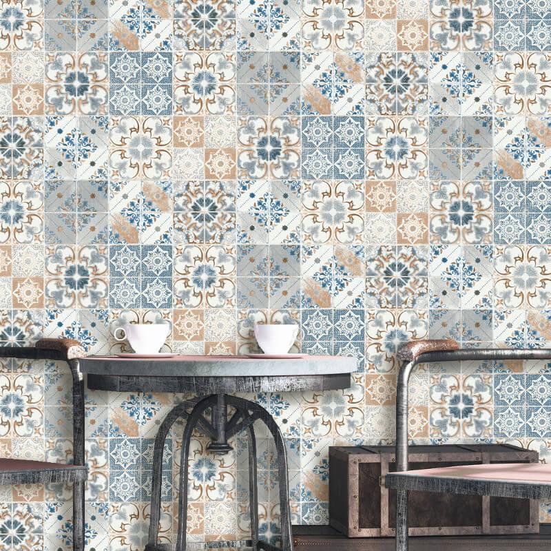 Debona Geometric Tile Orange Blue Wallpaper
