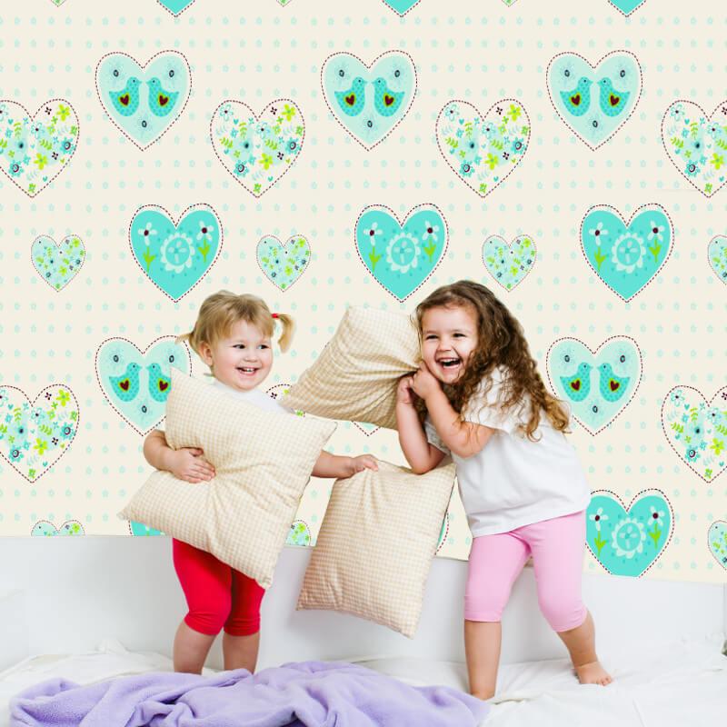 Debona Hearts and Birds Aqua Wallpaper - 6341
