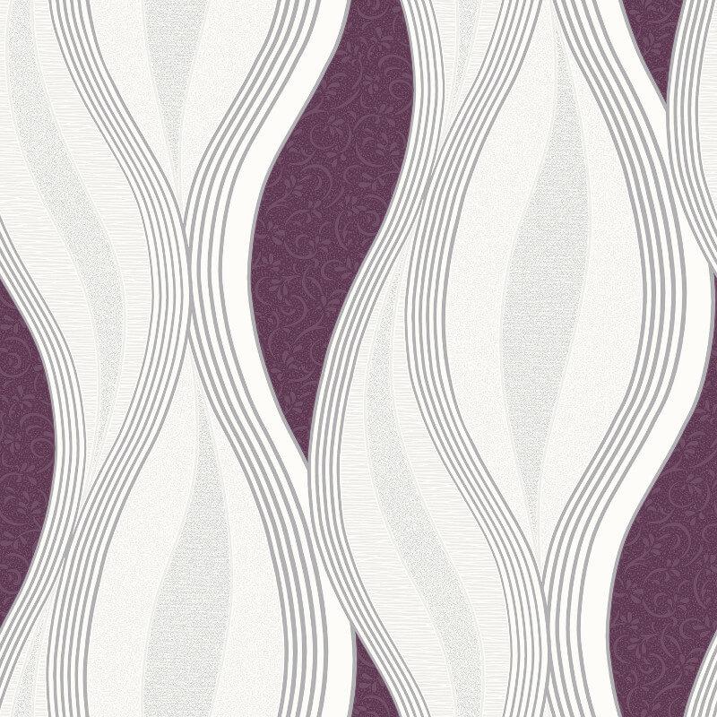 Direct Wallpapers Wave Glitter Wallpaper in Purple - E62006