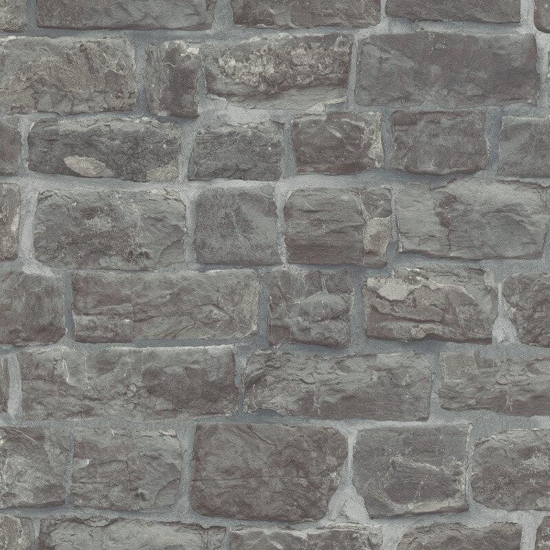 Erismann Brick/Stone Effect Charcoal Wallpaper - 5818-15