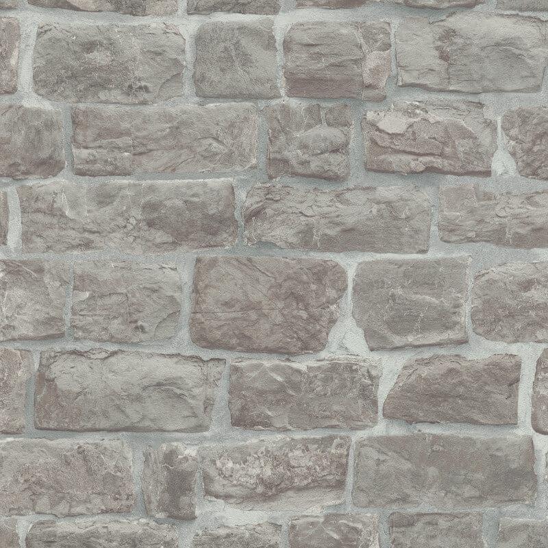 Erismann Brick/Stone Effect Grey Wallpaper - 5818-10