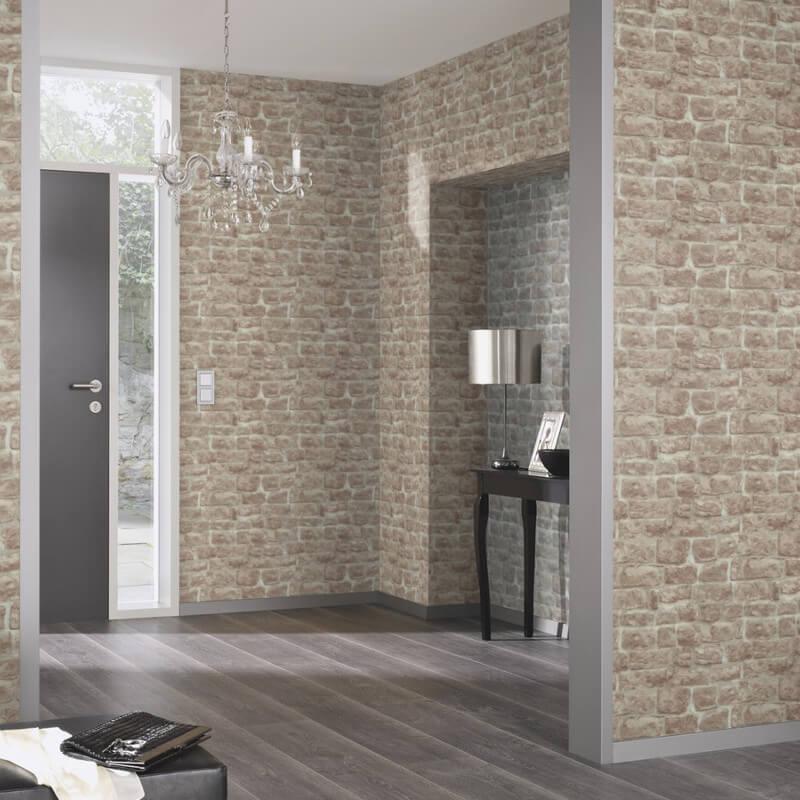 Erismann Brick/Stone Effect Red/Brown Wallpaper - 5818-11