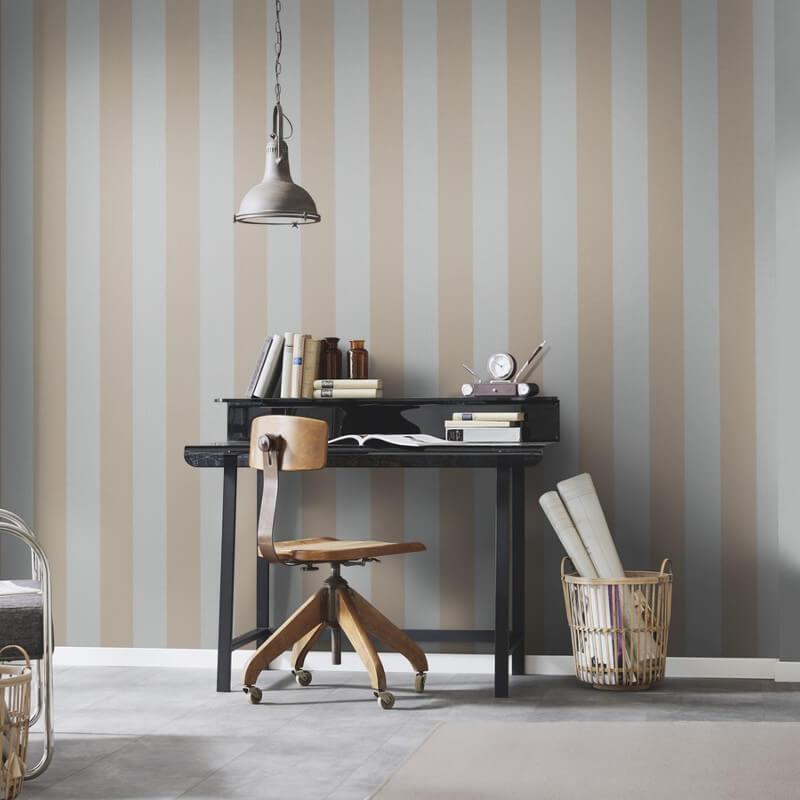 Erismann Cassiopeia Striped Grey/Beige Wallpaper - 1771-31