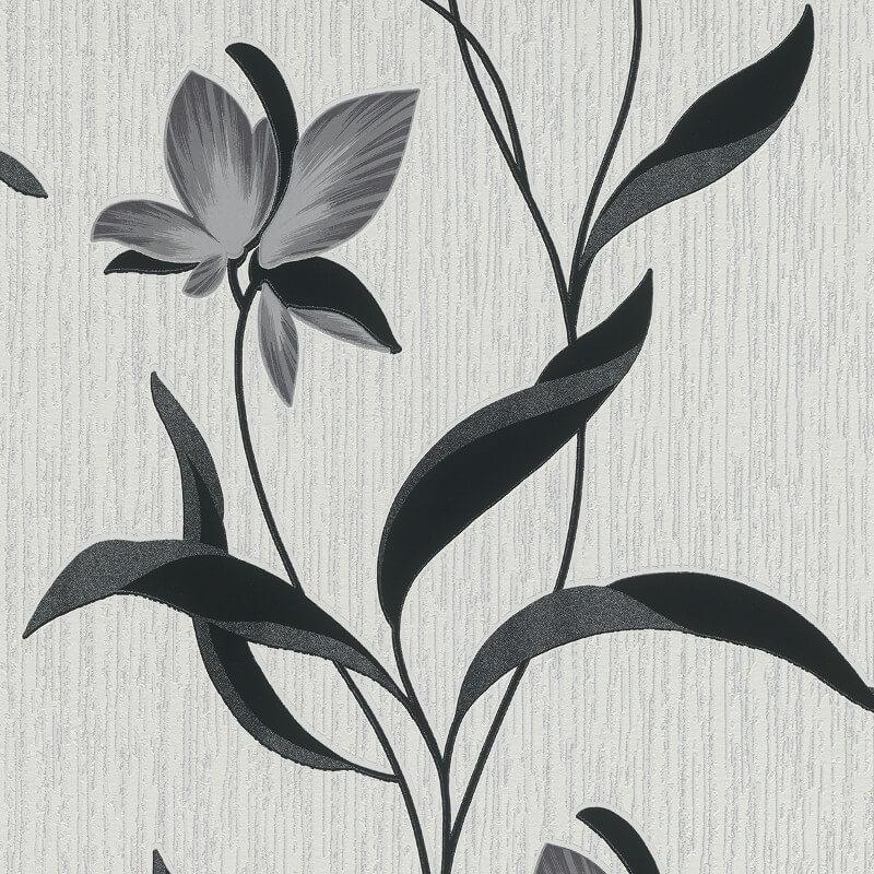 Erismann Fleur Floral Black/Grey Glitter Wallpaper - 9730-15