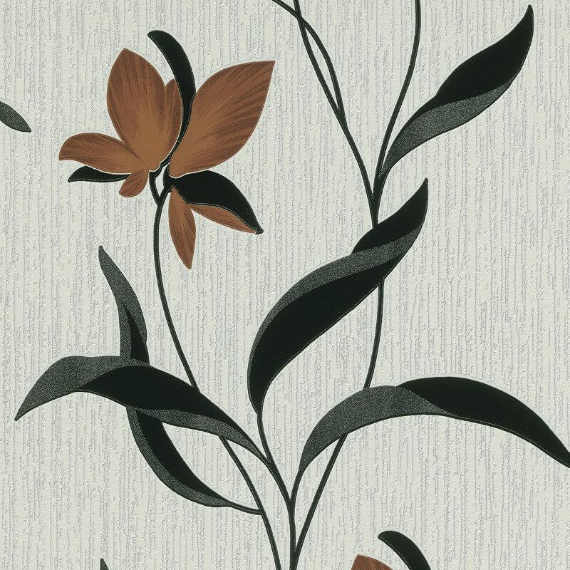 Erismann Fleur Floral Brown/Black Glitter Wallpaper - 9730-11