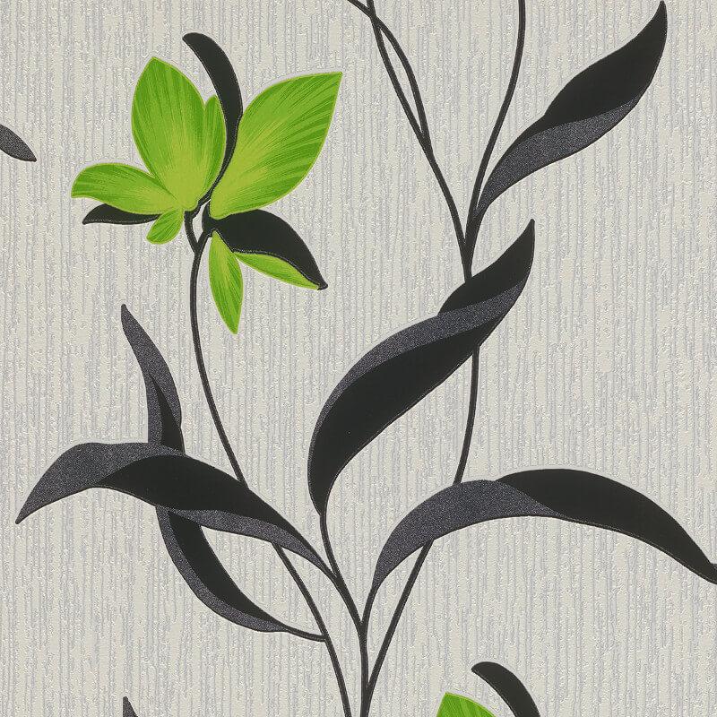 Erismann Fleur Floral Green/Black Glitter Wallpaper - 9730-07