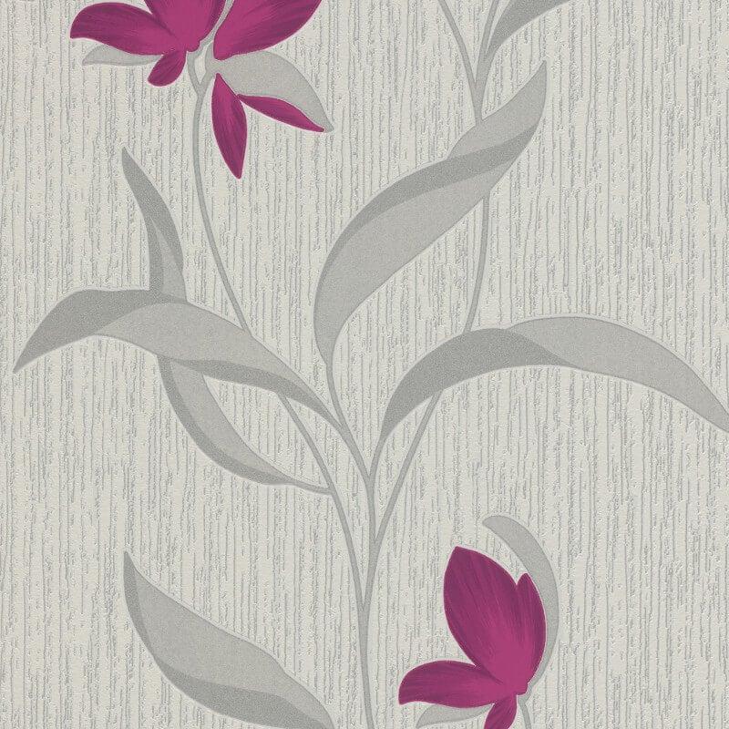 Famous Erismann Fleur Floral Purple/Silver Glitter Wallpaper - 9730-09 XM26