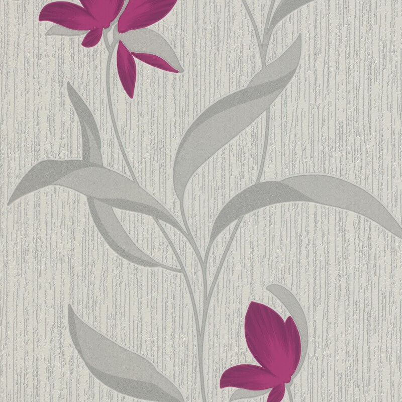 Erismann Fleur Floral Purple/Silver Glitter Wallpaper - 9730-09
