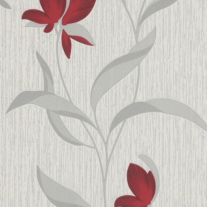 Erismann Fleur Floral Red/Silver Glitter Wallpaper - 9730-06