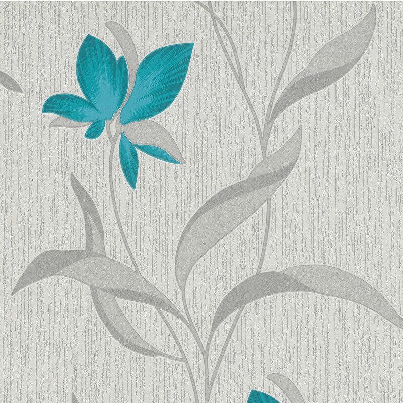 Erismann Fleur Teal/Silver Glitter Wallpaper - 9730-18