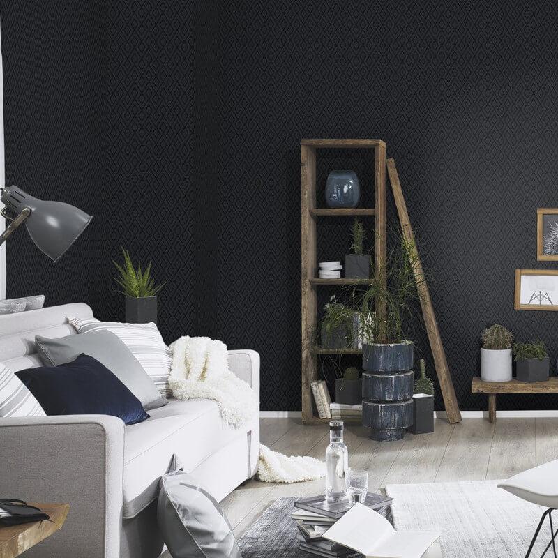 Erismann Geometric Black Glitter Wallpaper - 4629-15
