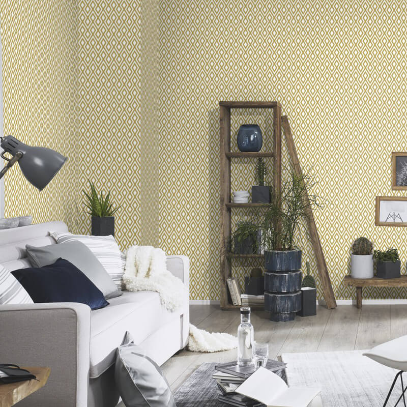 Erismann Geometric Mustard Glitter Wallpaper - 4629-03
