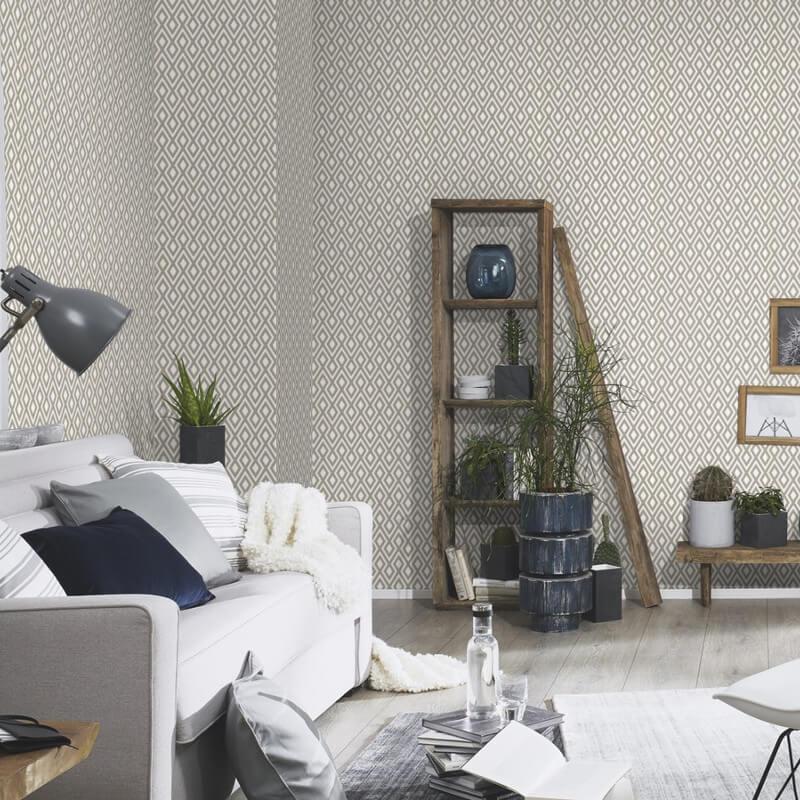 Erismann Geometric Taupe Glitter Wallpaper - 4629-11