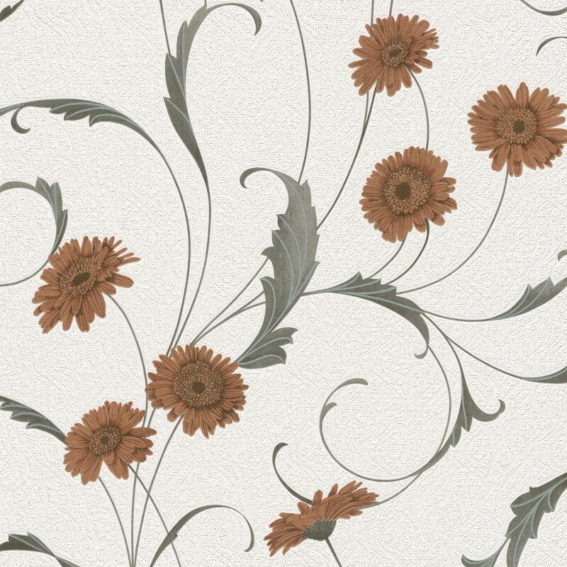 Erismann Polynesia Floral Brown/Grey Glitter Wallpaper - 9773-11