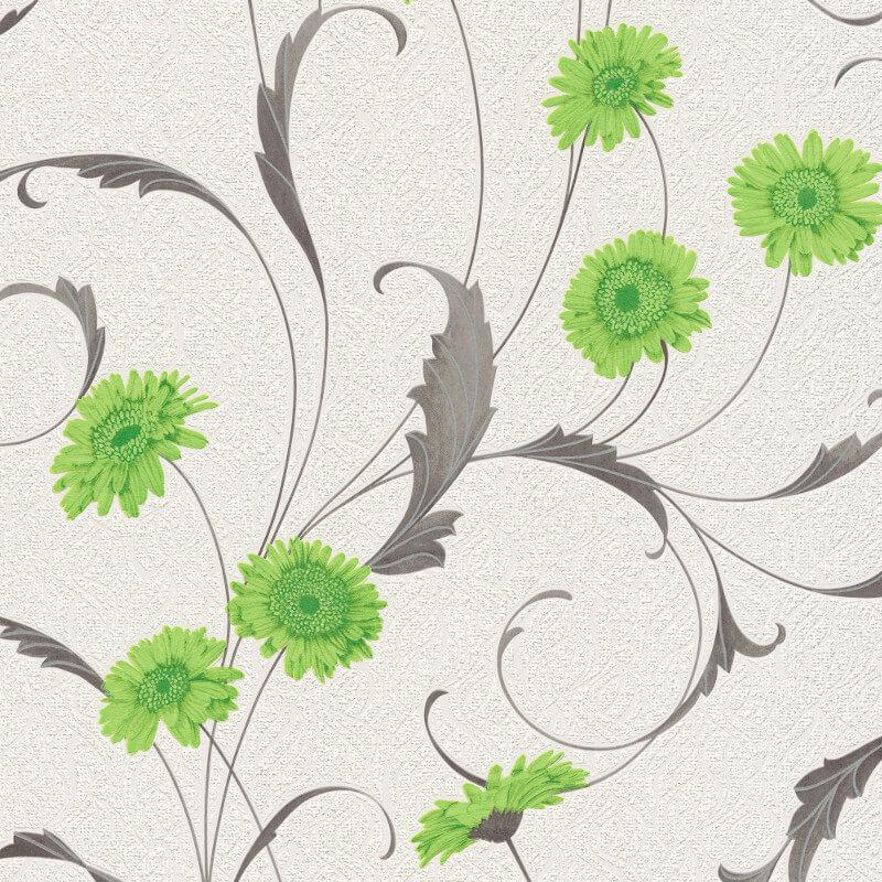 Erismann Polynesia Floral Green/Grey Glitter Wallpaper - 9773-07