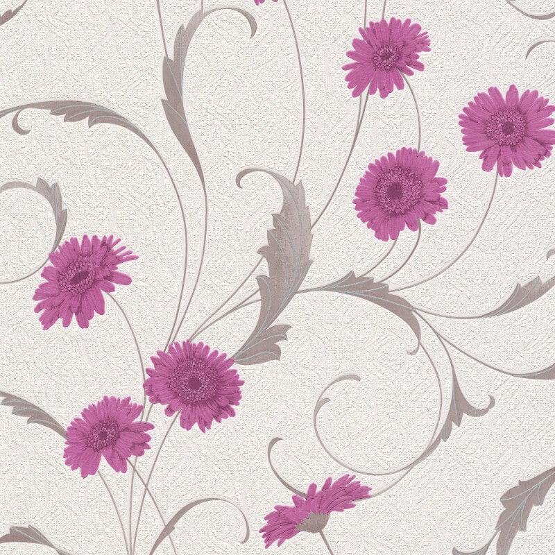 Erismann Polynesia Floral Purple/Grey Glitter Wallpaper - 9773-17