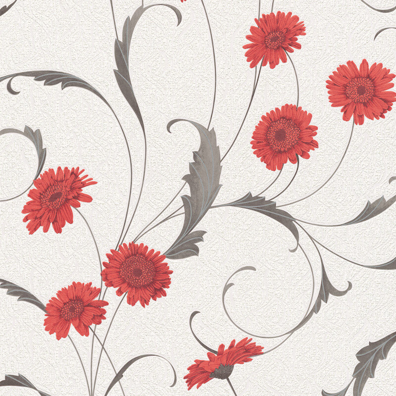 Erismann Polynesia Floral Red/Grey Glitter Wallpaper - 9773-06