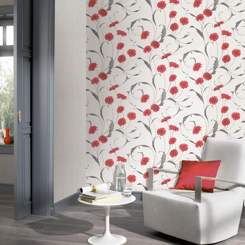 Erismann polynesia floral red grey glitter wallpaper 9773 06 for Red wallpaper designs for living room