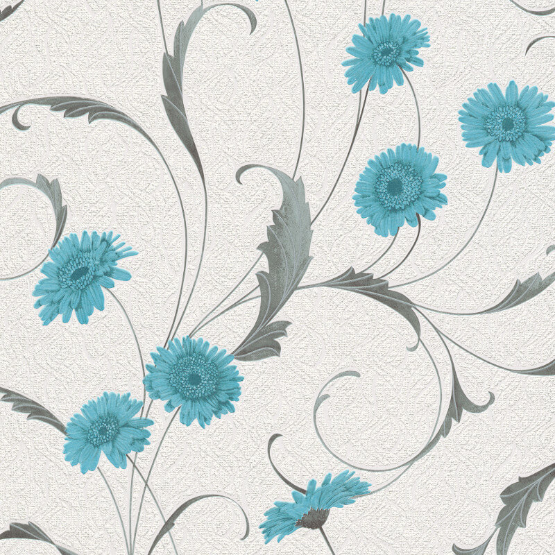 Erismann Polynesia Floral Teal/Grey Glitter Wallpaper - 9773-18