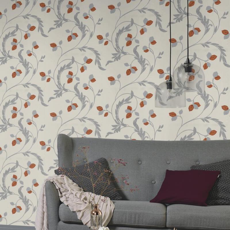 Erismann Shimmer Floral Orange Glitter Wallpaper - 9782-04