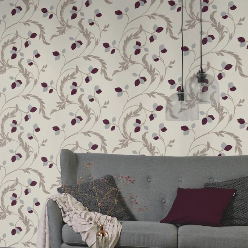 Erismann Shimmer Floral Purple Glitter Wallpaper - 9782-21